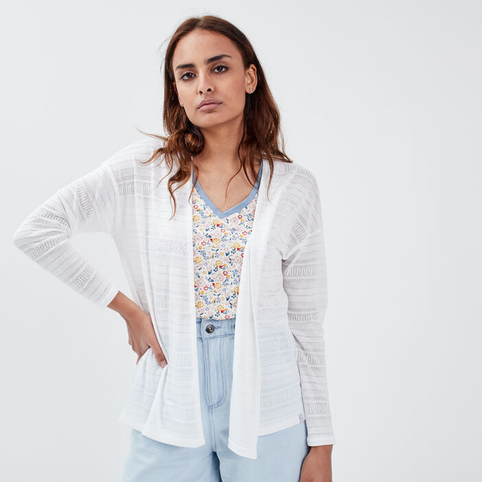 Cardigan manches longues blanc femme