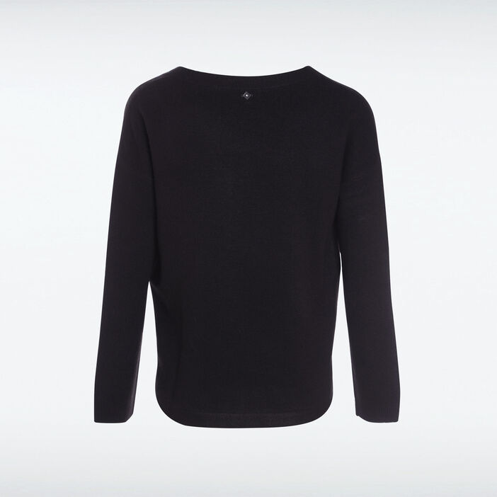 Pull manches longues maille noir femme