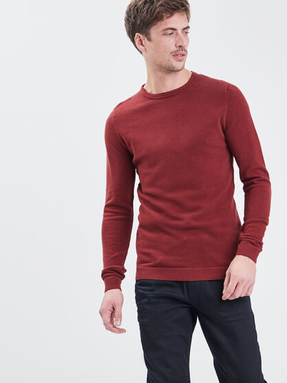 Pull eco responsable rouge fonce homme