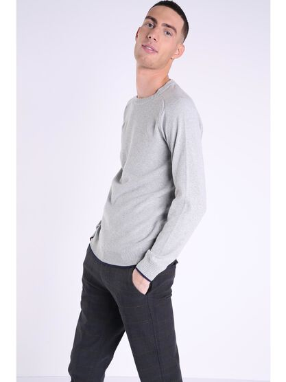 pull col rond homme instinct gris