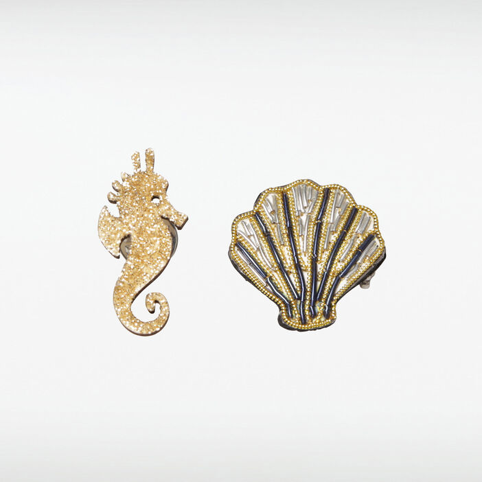 Broches coquillage et hippocampe couleur or femme