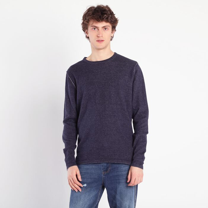 Pull manches longues chiné bleu marine homme