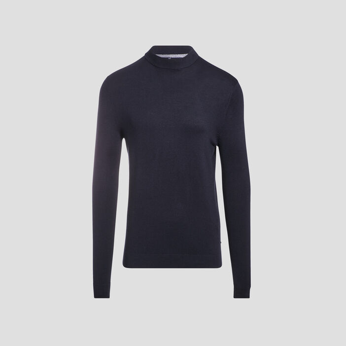 Pull manches longues bleu marine homme