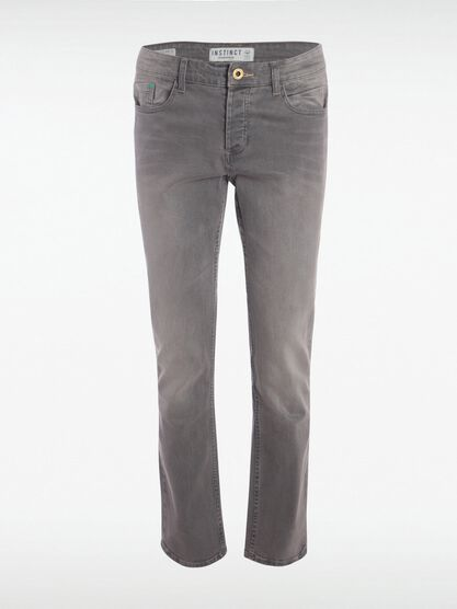 jeans regular used homme instinct denim snow gris