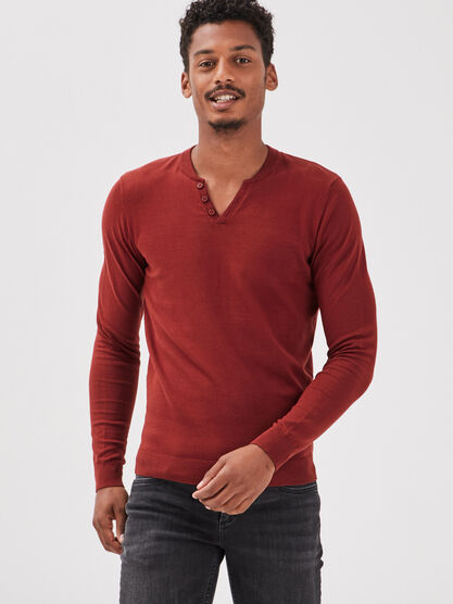 Pull eco responsable marron cognac homme