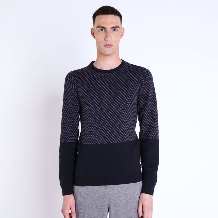 Pull col rond homme maille graphique BLEU MARINE