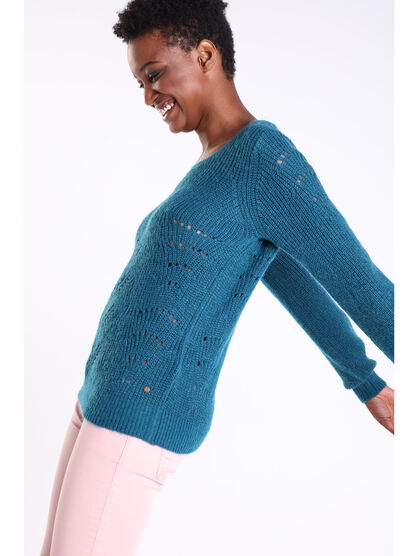 Pull col rond maille ajouree vert canard femme