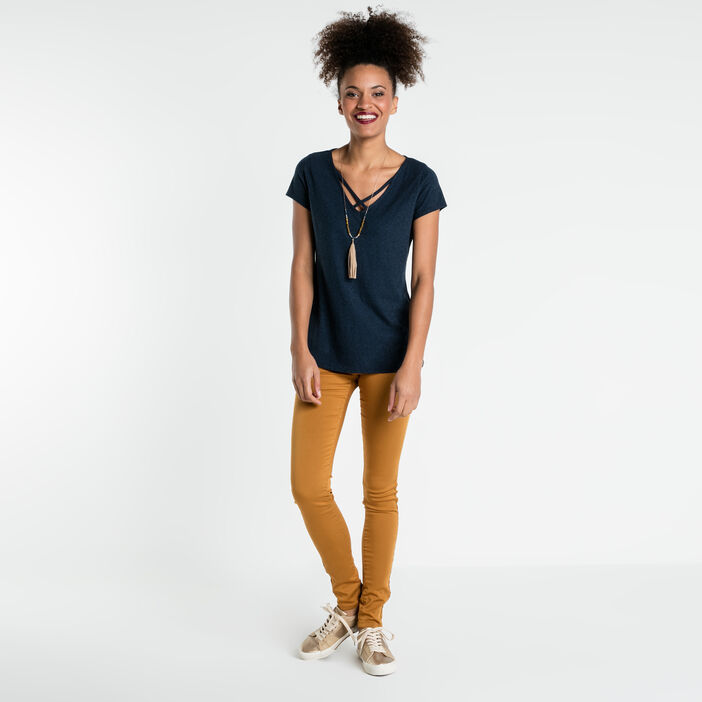Pantalon skinny taille normale jaune moutarde femme