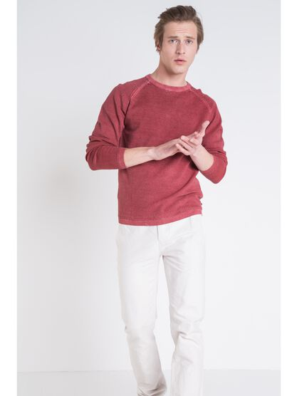 pull homme col rond vieux rose