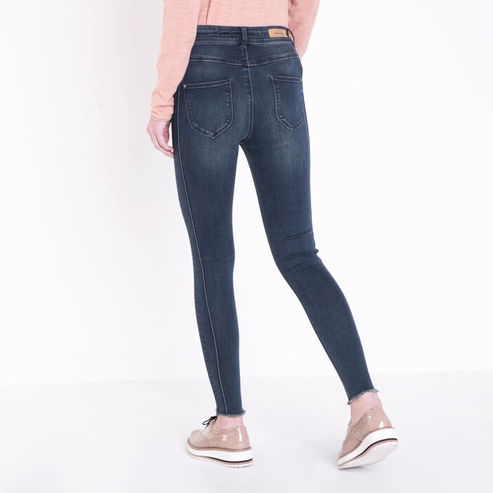 Jeans skinny taille haute coutures denim dirty femme