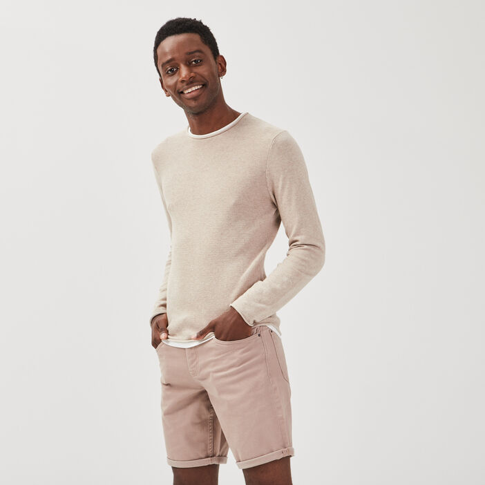 Pull manches longues sable homme