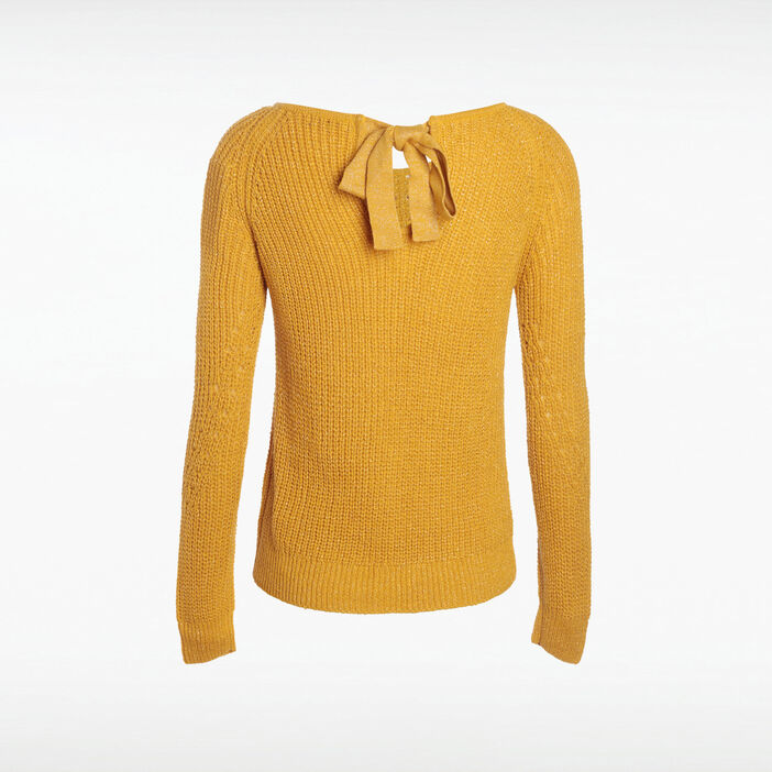 Pull manches longues noeud dos jaune moutarde femme
