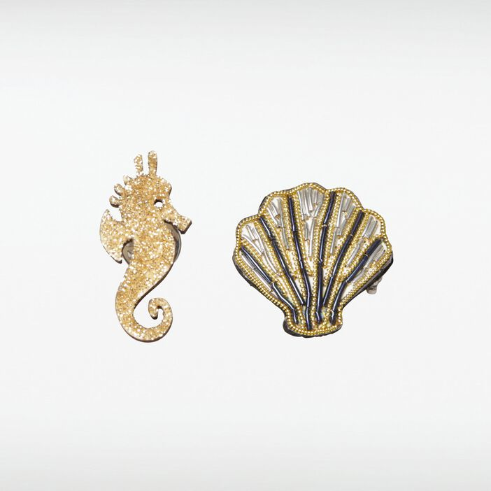 Broches coquillage et hippocampe femme COULEUR OR