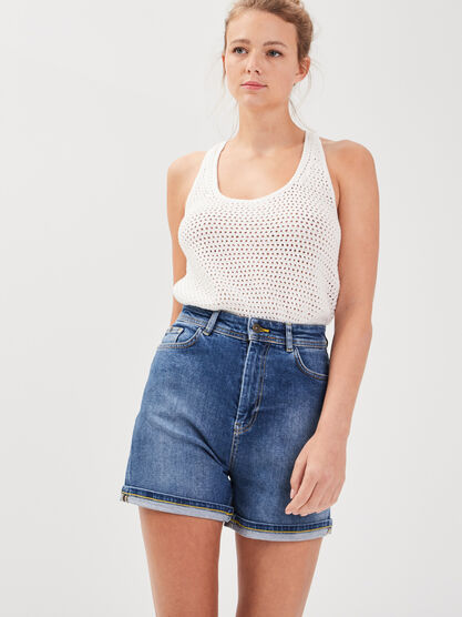 Short mom en jean denim stone femme