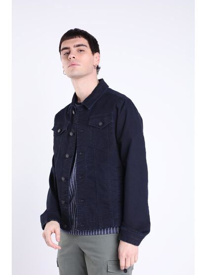 veste en jean cintree poches denim stone