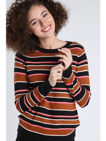 pull manches longues col rond camel