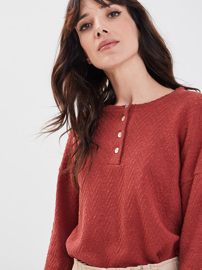 Sweat eco responsable rouge fonce femme