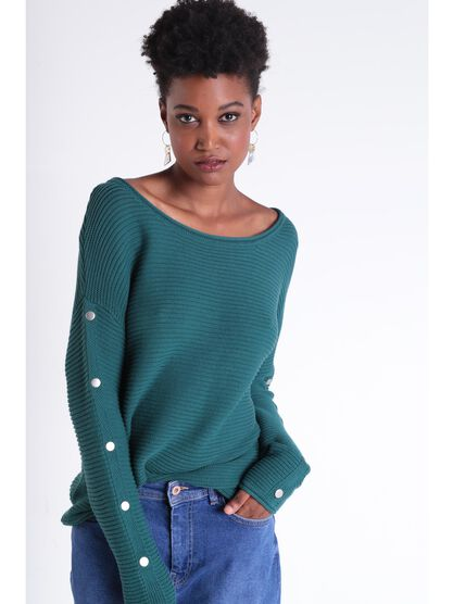Pull manches longues a boutons vert canard femme