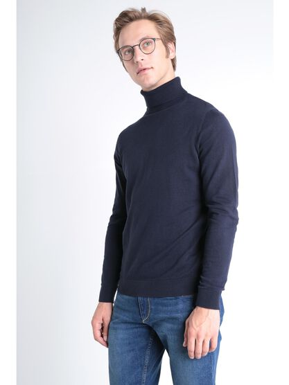 Pull manches longues col roule bleu fonce homme