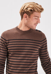 Pull manches longues marron fonce homme