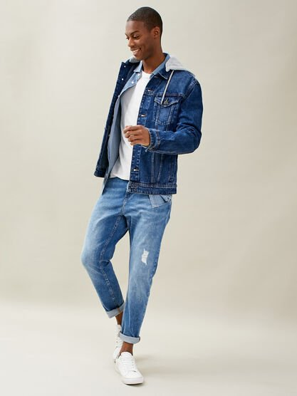 Jeans tapered eco responsable denim used homme