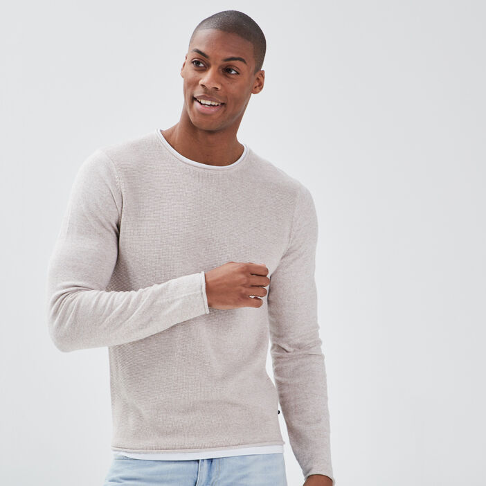 Pull manches longues beige homme