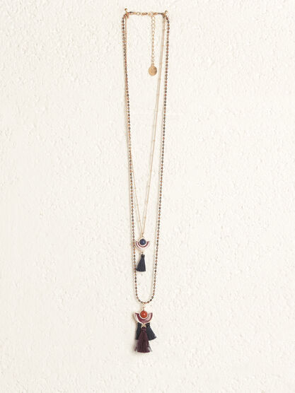 Collier 2 rangs avec glands couleur or femme