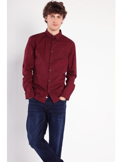 chemise super slim col simple bordeaux