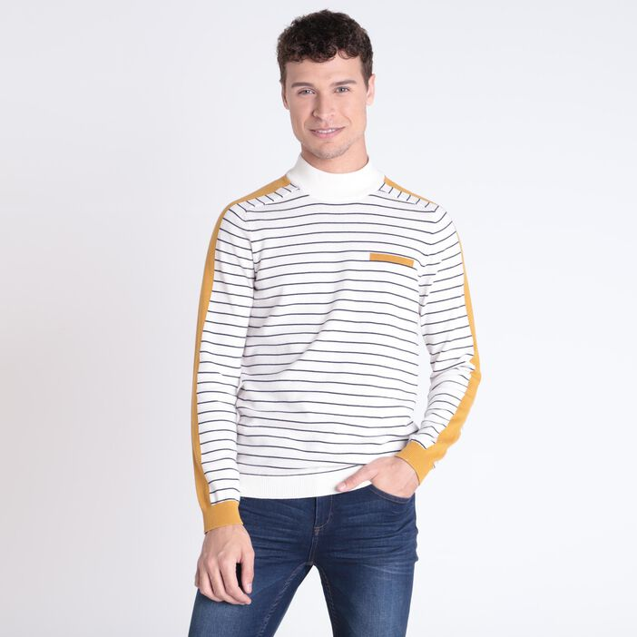 Pull col montant ecru homme