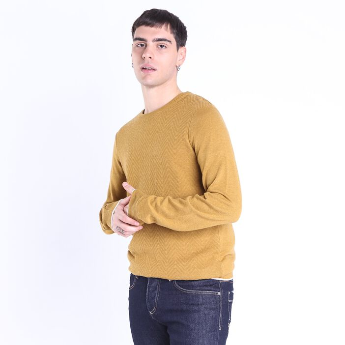 Pull col rond homme maille fantaisie JAUNE MOUTARDE