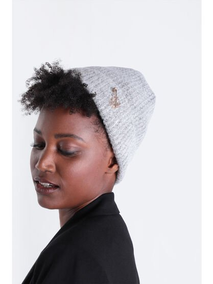 Bonnet detail epingle gris femme