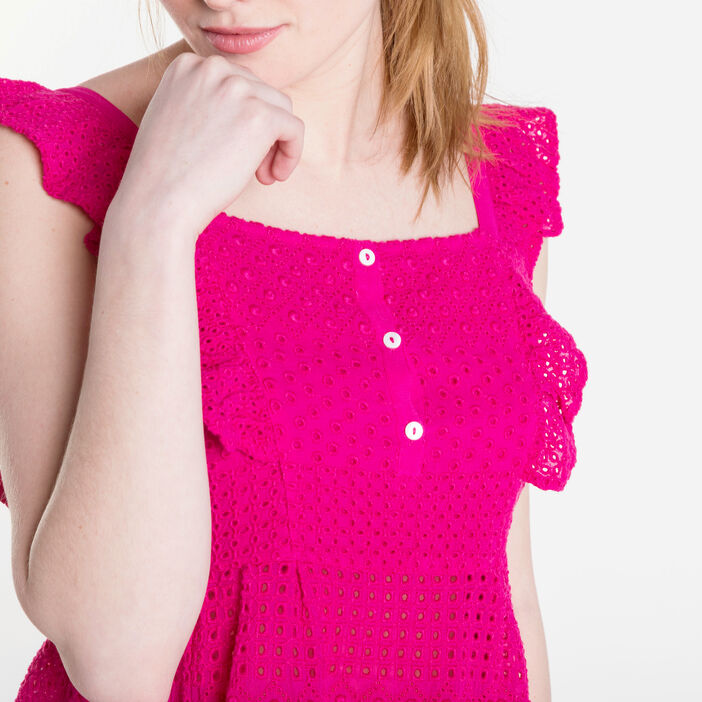 Top col carré broderies anglaises rose fushia femme