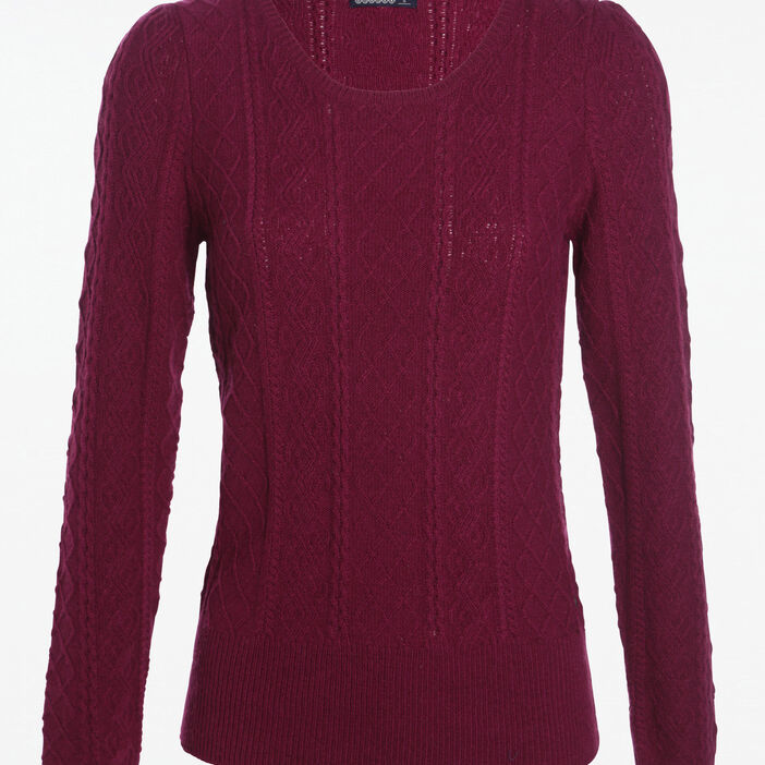 Pull col rond motif losanges prune femme