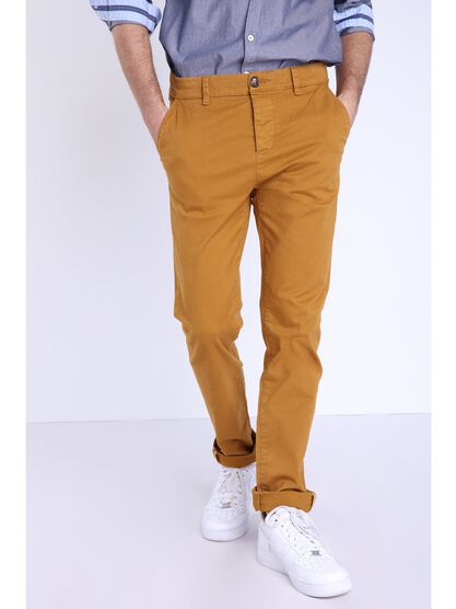 Pantalon chino slim jaune moutarde homme