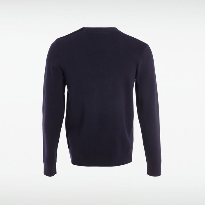 Pull col rond homme boutons épaule BLEU MARINE