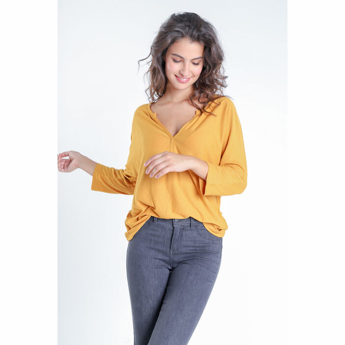 T-shirt manches 3/4 jaune moutarde femme