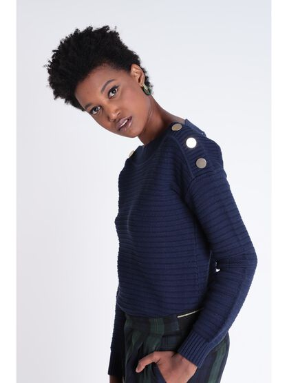Pull manches longues a boutons bleu marine femme