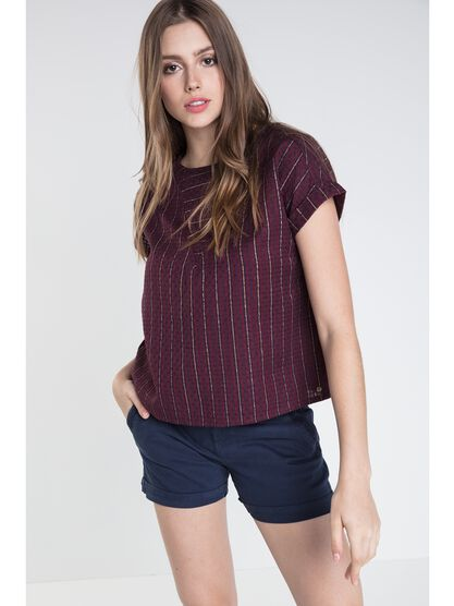 blouse col rond femme rayures colorees prune