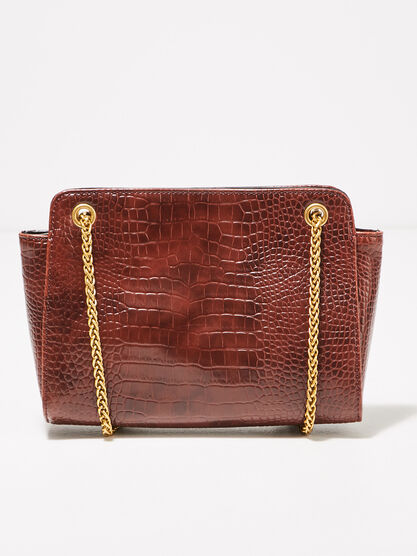 Sac texture bandouliere chaine rouge fonce femme
