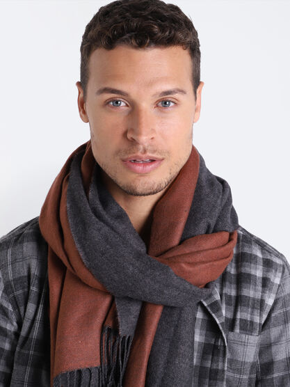 charpe a franges marron homme