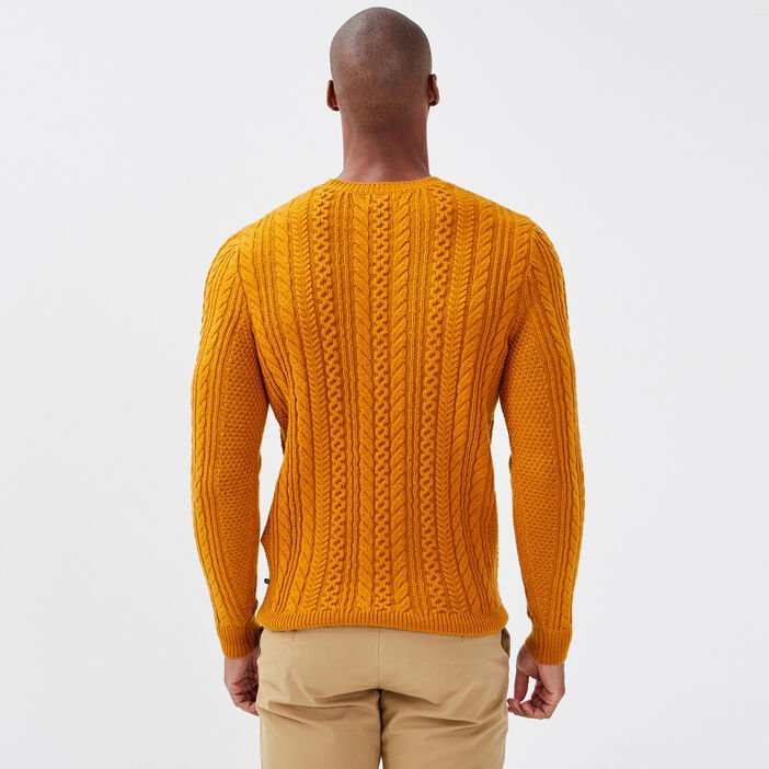 Pull éco-responsable jaune moutarde homme