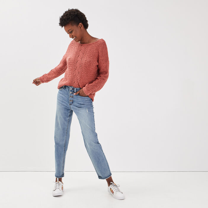 Jeans straight used effect denim used femme