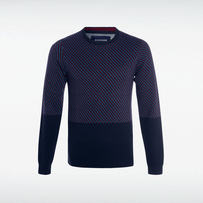 Pull col rond maille graphique bleu marine homme