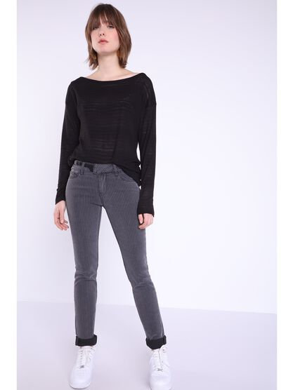 jeans slim a rayures denim gris