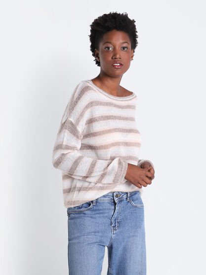 Pull manches longues col rond marron clair femme