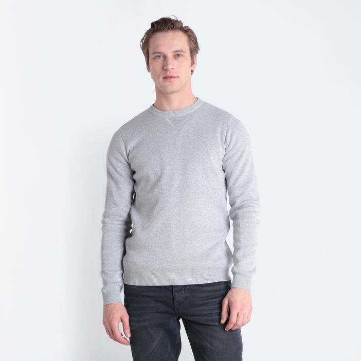 Pull manches longues gris clair homme