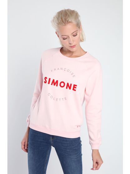 sweat manches longues a message femme rose clair