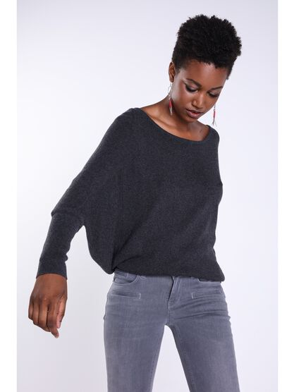 pull ample manches resserees gris fonce