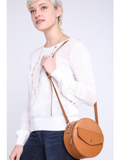 Sac rond a bandouliere taupe femme