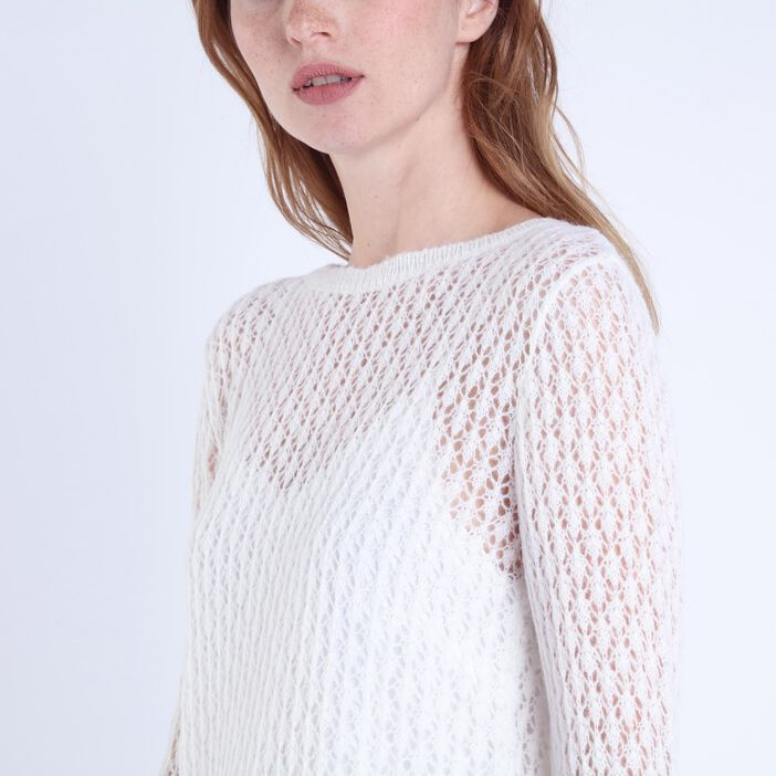 Pull manches longues fente dos ECRU